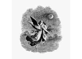 带儿童插图的复古天使_4062877