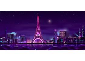 巴黎夜街卡通背景_4394562