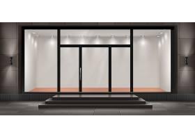 带台阶和入口门的店面插图玻璃照明陈列柜_3521610
