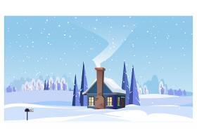 带小房子和冒烟烟囱的冬季景观_3298163