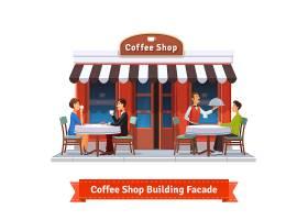 带招牌的咖啡厅大楼外立面_1310934