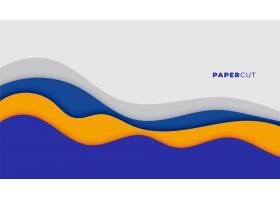 剪纸风格抽象的蓝色波浪背景设计_8866257