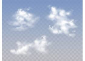 半透明的蓝色多云天空有着逼真的蓬松云彩_3090539