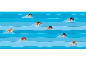 参加游泳比赛的儿童_3576643
