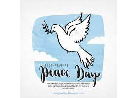 和平日背景手绘鸽子_1224917