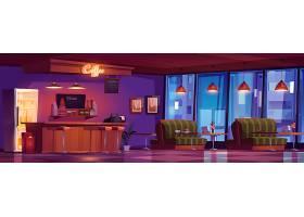 咖啡厅配有木制柜台凳子沙发和桌子_9886872
