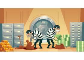 保险库银行抢劫案的卡通插图两个小偷偷了_2891052