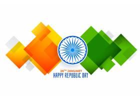 共和国日抽象几何印度国旗_3725643