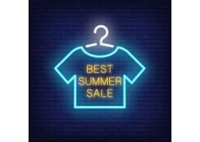 夏季最畅销的霓虹灯文字和挂在衣架上的t恤_2767057