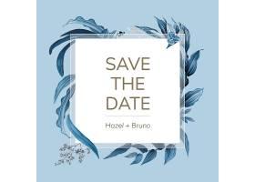 印有蓝叶图案矢量的婚礼邀请函_3772074