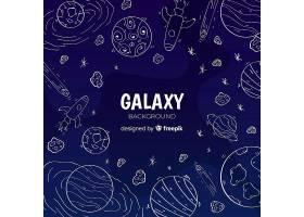 可爱的手绘星系背景_2943076