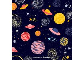 可爱的手绘星系背景_2943079