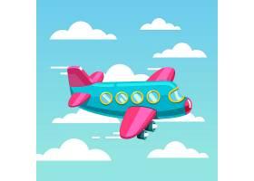 可爱的漫画喷气式飞机在空中飞翔_1311594