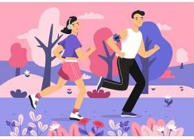 人们在公园里慢跑年轻男女跑运动马拉松的_2890946