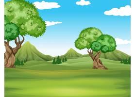 以田野和树木为背景的自然景观_4867025
