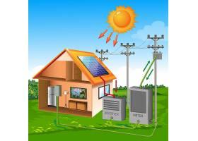 以草地和天空为背景的太阳卡通式太阳能电池_8917633