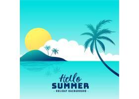 你好夏日海滩天堂度假背景_4535021