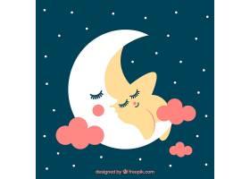 与月亮在一起的可爱的星星背景_1092527