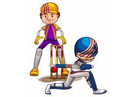 两名板球运动员在白色背景上比赛_5361165