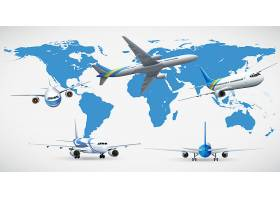 五架飞机和蓝色地图_2188026