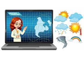 主播在笔记本电脑屏幕上用天气图标报告天气_9306603