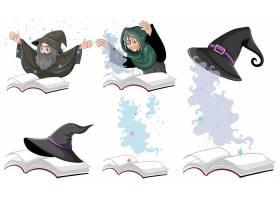 书上的一套女巫或男巫魔法帽隔离在白色背_8825331