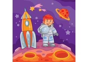 一个小男孩宇航员的矢量插图_1215631