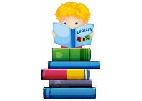 一个男孩在读一本白色背景的书_3528712