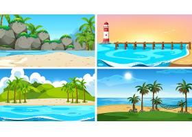一套热带海洋自然景观或带海滩的背景_5184027