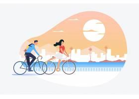 骑自行车的男人和女人背景是太阳和城市景_4949537
