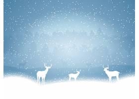 雪蓝色背景上的驯鹿_827741