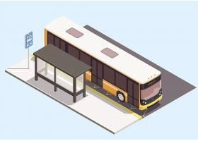 蓝色背景3D上公交车在车站附近的交通构图_7379269