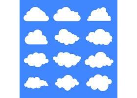 蓝色背景上的一组十二种不同的云_1149278