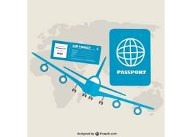 蓝色飞机和带世界地图的护照_714619
