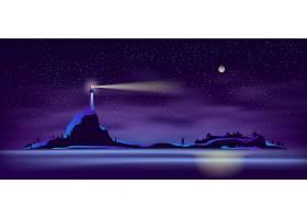 紫外光的夜间矢量灯塔_4016183