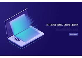 网络教育的概念打开书本的笔记本电脑_2909690