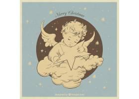 美丽的复古手绘天使以星星为背景_967620