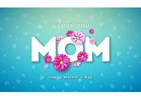 母亲节快乐贺卡设计蓝色底色为鲜花和印刷_7516282