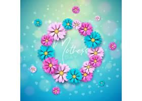 母亲节快乐贺卡设计蓝色底色为鲜花和印刷_7516286