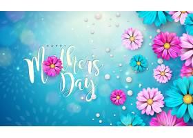 母亲节快乐贺卡设计蓝色底色为鲜花和印刷_7660362