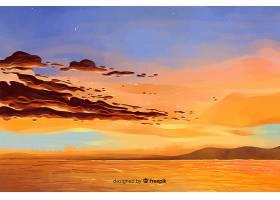 水彩画风格的自然山水背景_4950984