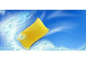 用黄色海绵和泡沫清洁泡沫蓝色背景上有白_10798376