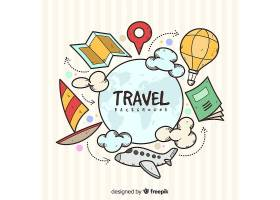 手绘旅行元素背景_3733272