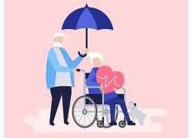 拥有医疗保险相关图标的资深夫妇_3425183