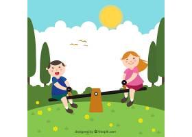 微笑的孩子们在跷跷板上玩耍_1078377