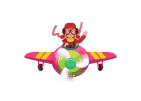 快乐微笑的孩子像真正的飞行员一样驾驶飞机_1311591