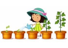 快乐的女孩在白色背景上给植物浇水_8042264