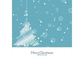 圣诞快乐柔和的蓝色背景配以树的设计_10696309