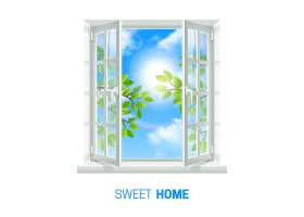 在阳光明媚的日子里打开白色的窗户_3889536