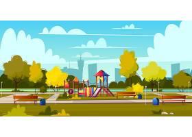 夏季公园卡通游乐场的矢量背景绿树成荫的_4015263